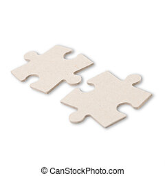 Two puzzle pieces isolated on white background