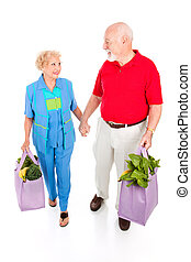 Senior Shoppers - Green Lifestyle - Senior couple returns...