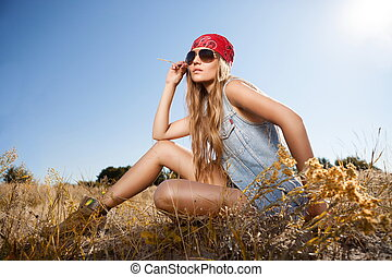 Sensual blond girl in field - Beautiful romantic girl...