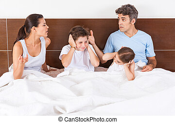 family conflict parents bed, couple children - family...