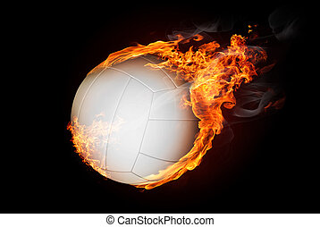 Burning objects and objects on fire background - Volleyball...