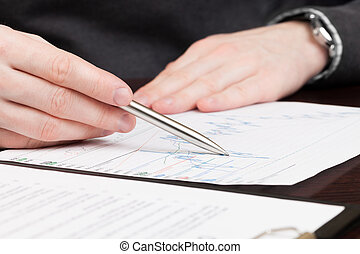 Business men reading contract - Financial world with...
