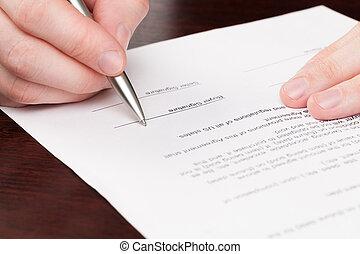 署名, 男性, ビジネス, 契約