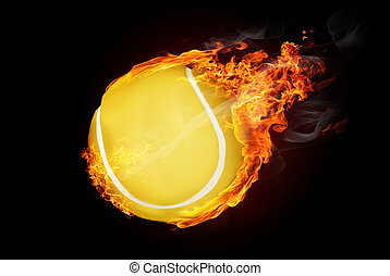 Burning objects and objects on fire background - Tennis ball...
