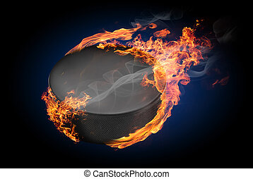 Burning objects and objects on fire background - Hockey puck...