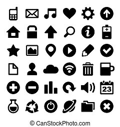Universal Simple Web Icons Set on White