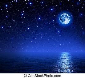 super moon in starry sky on sea - super moon in starry sky...