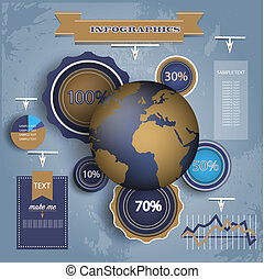 Infographic Elements. World Map and Information Graphics.