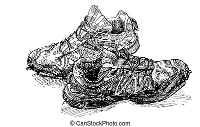 Pair of old running shoe - Tracing vector from hand drawing...