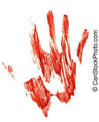 bloody Trail of a human hand on a white background