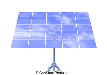 Solar Energy - 3D Illustration. Natural Sky Background.