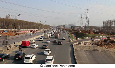 Traffic on the highway of big city, Moscow Automobile Ring...