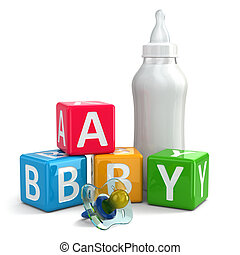 Pacifier, Milk in bottle and buzzword blocks with word baby....