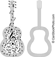 abstract spanish guitar - abstract black silhouettes of...