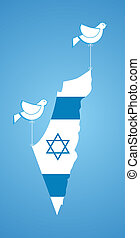 white dove holding map of Israel. happy independence