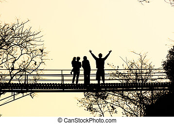 silhouette wood bridge - silhouette bridge at jomthong...