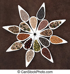 Seed Food Platter - Large seed food selection in porcelain...