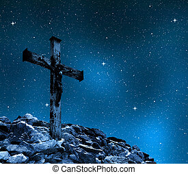 Jesus Christ on The Cross in night sky