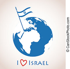 Globe icon with Israel flag - I love Israel Globe icon with...