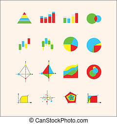 Icons for graphs and charts - Set of colored economic graph...