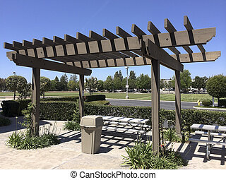Portland Wooden Pergola - Aluminum dining table under light...