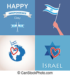 Four icons of Israel. happy independence day. illustration