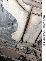 Car exhaust system - Car inspection in repair position...