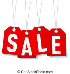 Red price tags with Sale word