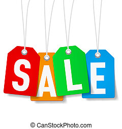 Price tags with Sale word - Colorful price tags with Sale...