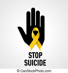 Stop Suicide sign Black hand with yellow ribbon on white...