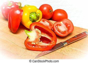 Bulgarian pepper red - red bell pepper on a cutting board is...