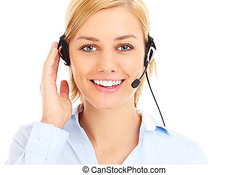 Teleworker - A picture of a happy teleworker over white...