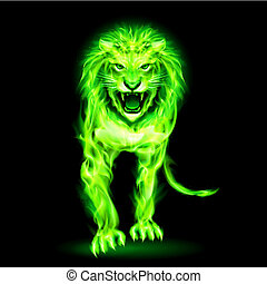 Green fire lion isolated on black background