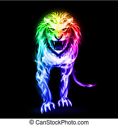 Spectrum fire lion - Fire lion in spectrum colors on black...