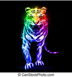 Spectrum fire tiger - Fire tiger in spectrum colors on black...