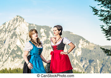 Mountain Range and Young Woman