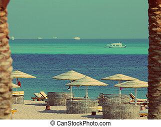 tropical beach - vintage retro style