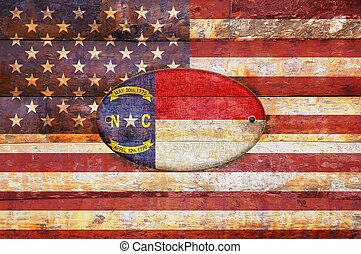 Wooden flag of North Carolina. - Illustration with a wooden...