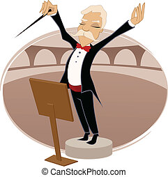 Conductor performing in theater vector cartoon illustration.