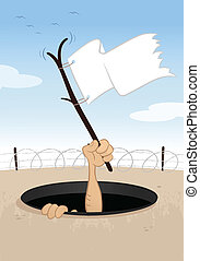 Surrender - Hand with white flag surrenderig vector cartoon...