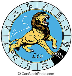 leo zodiac sign - leo or lion astrological zodiac sign,...