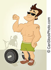 Body Builder - Bodybuilder flexing muscles at gym vector...
