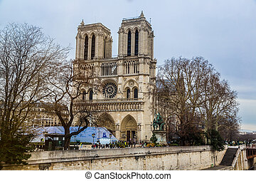Notre Dame cathedral in Paris, France - PARIS - DECEMBER 14:...