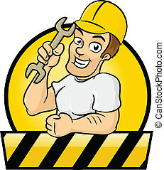 Construction Worker - Happy contractor vector cartoon...