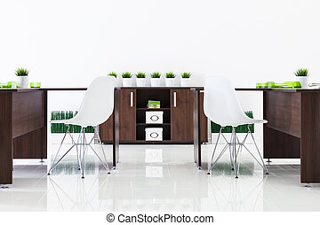 desks and plastic chairs with reflection on white background