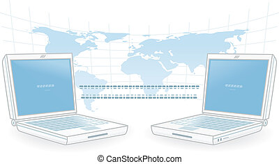 Global Communications - Two notebook computers exchanging...