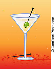 Martini glass with olive vector cartoon illustration