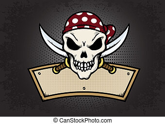 Pirate Skull - Pirate skull emblem on textured background...