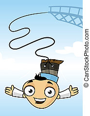 Bungee Jump - Excited man jumping on bungee rope vector...