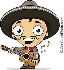 Mariachi - Happy mariachi playing guitar vector cartoon...
